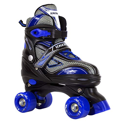 Scale Sports Adjustable Roller Skates for Kids Teen and Men Large Size Blue ()