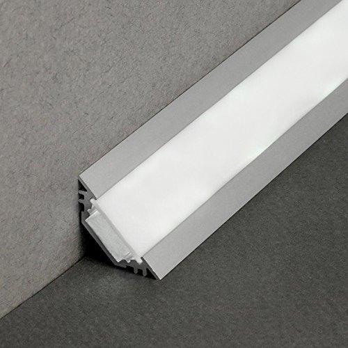 LED Profil TRIO-T ALU 2m eloxiert + weisse Abdeckung, SET