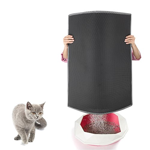 Pieviev Cat Litter Box MatxFF0C; Litter Trapper of Large Size 30' X 24', Honeycomb Double-Layer DesignxFF0C;Waterproof Urine Proof Material, Easy Clean and Floor Carpet Protection (Light Grey)