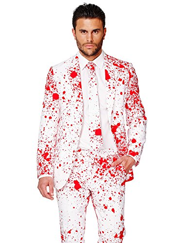 OppoSuits Men's Bloody Harry Party Costume Suit, White/Red, 44]()