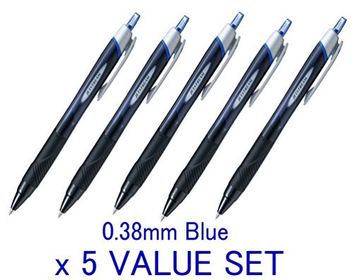 - Uni-ball New Jetstream Extra Fine & ultra micro Point Retractable Roller Ball Pens,-rubber Grip Type -0.38mm-blue Ink-value Set of 5