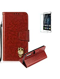 Funyye Brown Premium Wallet Cover for Huawei P20 Pro,Cute 3D Owl Pattern Design Strap Magnetic Flip Detachable Case with Stand Card Holder Slots Cover for Huawei P20 Pro,Anti Scratch Full Body Protective Soft Silicone PU Leather Case for Huawei P20 Pro + 1 x Free Screen Protector