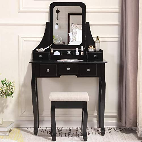 Unihome Vanity Table with Mirror and 5 Drawers Black Makeup Table Small Bedroom Dressing Table for Women