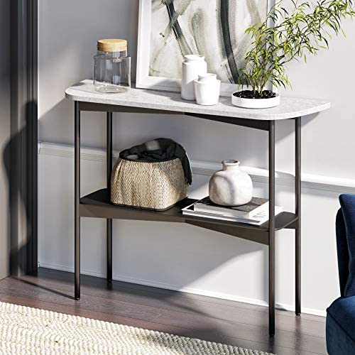 Nathan James 37201 Jasmine Modern Sofa Entryway Faux Marble Console Narrow Metal Frame, Foyer or Hallway Table, Black