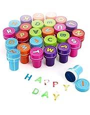 Xrten 26 Piezas Sellos de Entintado de Alfabeto, Sellos de Letras para niños Infantiles Regalo de cumpleaños