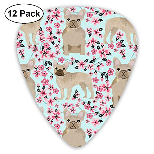 - Fawn Cherry Blossoms French Bulldog Dog Cute Funny Pink Small Medium Large 0.46 0.73 0.96mm Mini Flex Assortment Plastic Top Classic Rock Electric Acoustic Guitar Pick Accessories Variety Pack