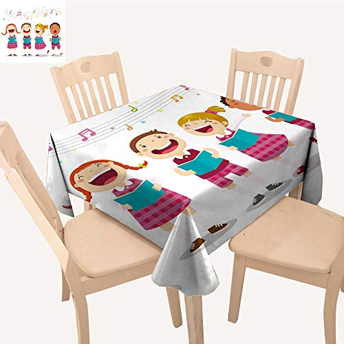 (UHOO2018 Square/Rectangle Polyester Tablecloths Choir Girls Boys s a Song Fuitable for Home use,50x)