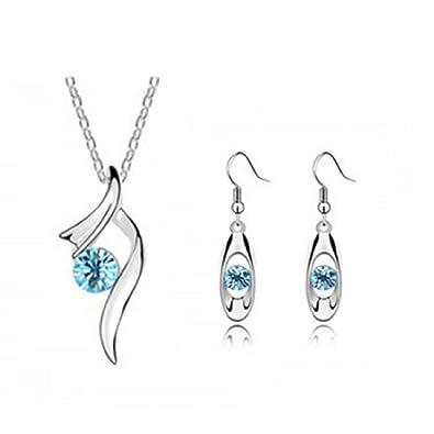 54c073f3168af Pour femme Cristal autrichien Bleu-Parure Collier et Boucles d'oreille de  mariée Strass