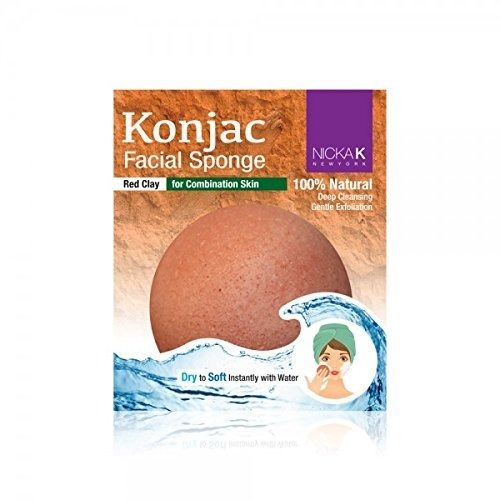 NICKA K Konjac Facial Sponge 100% natural with Red Clay