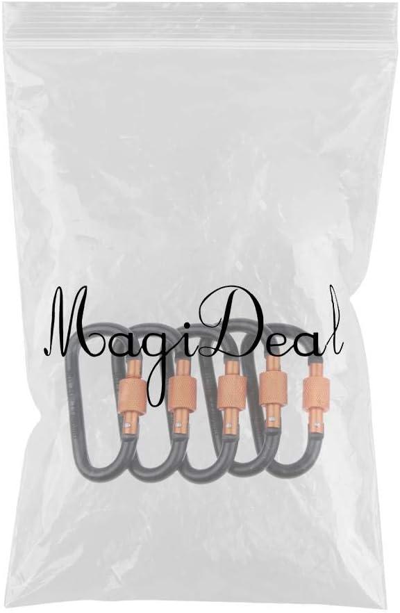 Noir MagiDeal 5pcs En Alliage Daluminium D Forme Mousquetons Clips Porte-cl/és Boucles En Plein Air