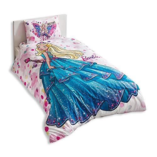 Barbie Princess Cama individual infantil cama edredón (160 x 220 cm), 100% algodón, con funda nórdica, sábana Acke (100 x...