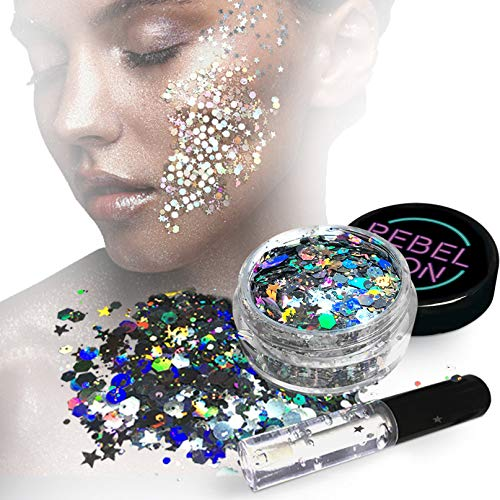 Cosmetic Glitter For Face, Body & Hair- Festival, Rave Silver with Fix Gel -