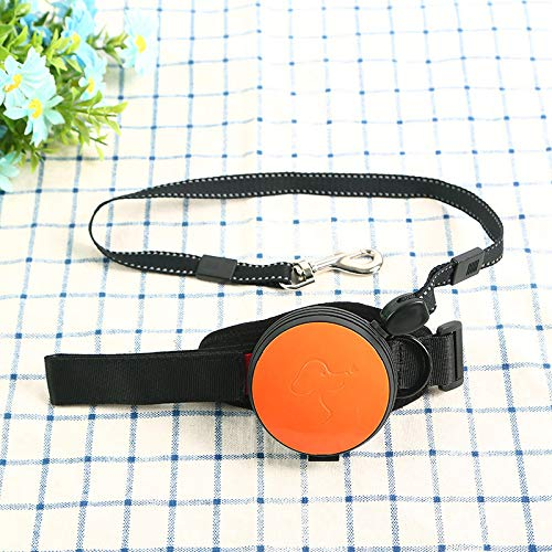 big face cat Dog Leash Pet DogWrist Traction Rope Liberation Hands 3 Meters Explosion-Proof Automatic Retractable, Vitality Orange