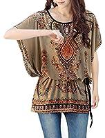 Women Round Neck Batwing Sleeve Semi Sheer Multicolor Tunic Shirt