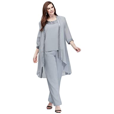 673500efc02 David s Bridal Plus Size Chiffon Pantsuit with High-Low Jacket Style 25799  at Amazon Women s Clothing store