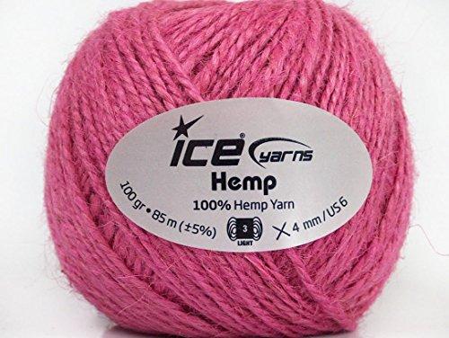 Lot-of-4-x-100gr-Skeins-Ice-Yarns-HEMP-100-Hemp-Yarn-Hand-Knitting-Yarn-Pink
