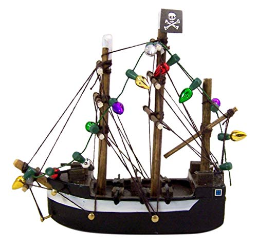 Pirate Ship with Lights Hanging Wooden Christmas Tree Ornament, 3 3/4 Inch (Tree Christmas Pirate)