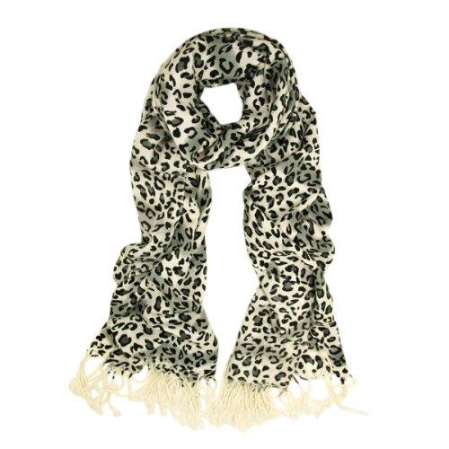 Premium Elegant Leopard Animal Print Fringe Scarf - Different Colors Available, Snow Leopard