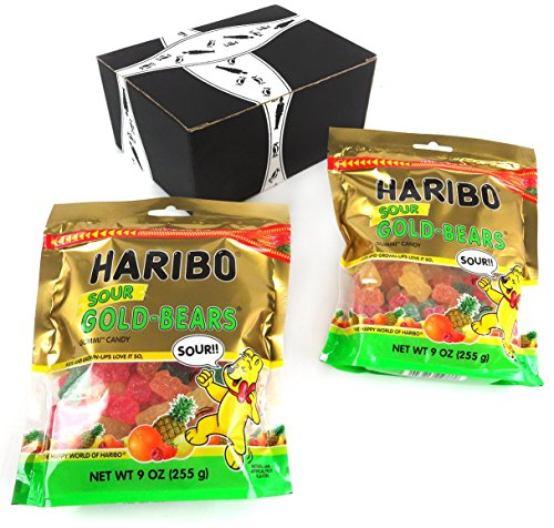 HARIBO Sour Gold-Bears Gummi Candy, 9 oz Bags in a BlackTie Box (Pack of 2)