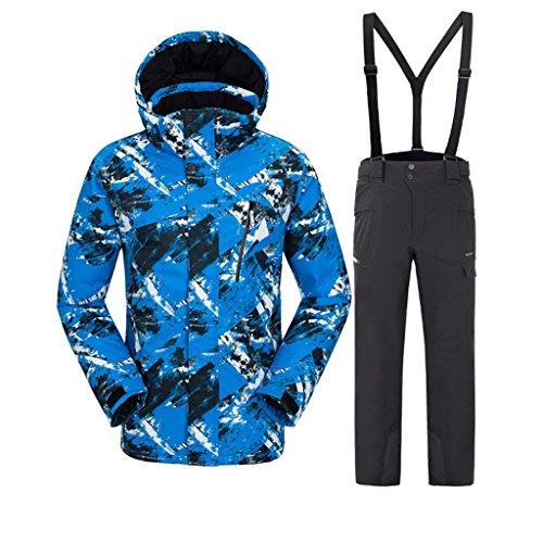 3c00aea7af Luxfan Women Men Colorful Print Hooded Snow Jacket Coat Windproof  Waterproof Skiing Jacket Suit (Lake Blue+Black