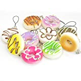 5Pcs Random Squishy Donuts Cell Phone Charm Strap Key Bag Chain Squeeze Toy Fun