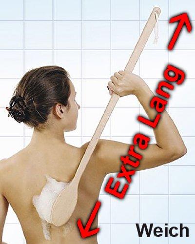 Rückenbürste EXTRA LANG 80 cm, Große Badebürste aus Holz mit langem Stiel Kosmetex