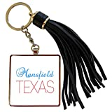 3dRose Alexis Design - American Cities Texas - Mansfield, Texas, red, blue text. Patriotic home town design - Tassel Key Chain (tkc_301575_1)