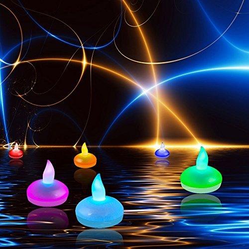 Satz von 12 Schwimmende LED-Kerzen, Dland Farbe ver?ndert Mood Teelichter wasserdichte k¨¹hle wei?e Hochzeits-Feiertags-Weihnachtsweihnachtsfest-Dekoration Blumenflammenlose