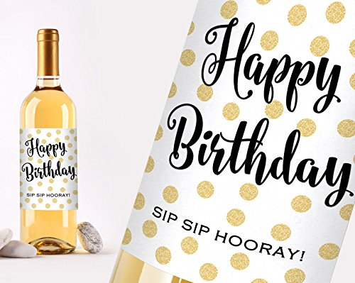 60th Birthday Gift for Women Hello Sixty Wine Bottle Labels Birthday Party Decorations and Supplies Set of 6