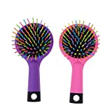 (US) Pack of 2 Rainbow Volume Brushes Detangling Hair Brushes Hair Curl Straight Magic Combs with Mirror (Pink & Purple)