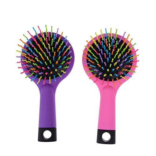 Pack of 2 Rainbow Volume Brushes Detangling Hair Brushes Hair Curl Straight Magic Combs with Mirror (Pink & Purple)