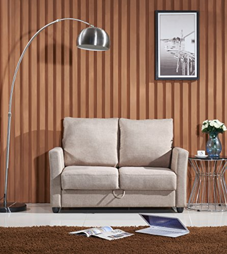 Container Furniture Direct Adia Collection Modern Fabric Upholstered Living Room Loveseat with Storage, (Reclining Sleeper)