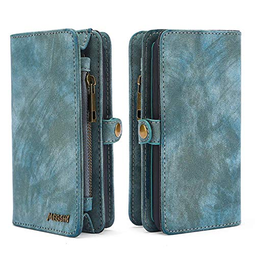 Spritech J3 Star,J3 Achieve/J3 Orbit/Amp Prime 3/J3 V 3rd Gen/Express Prime 3 Wallet Case,Handmade Leather Large Capacity Detachable Zipper Wallet Cover with Credit Card Holder for Samsung J3 2018 ()
