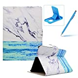 Wallet Folio Case for Amazon Kindle Fire HDX 7 inch,Bookstyle Flip Pu Leather Case for Amazon Kindle Fire HDX 7 inch,Herzzer Stylish Classic [Ocean Marble Print] Stand Magnetic Smart Leather Case with Soft Inner for Amazon Kindle Fire HDX 7 inch