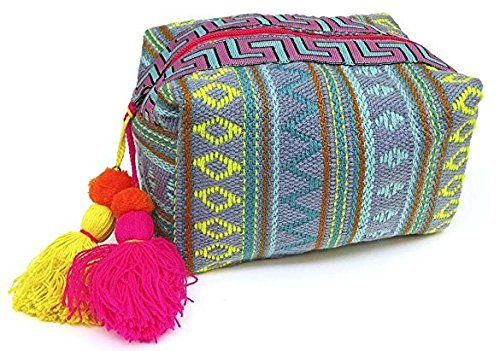 Turquoise Stitch (Lovestitch Embroidered Loaf Shape Makeup Bag Turquoise, Pink, Grey)
