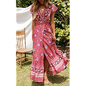 ZESICA Women's Bohemian Floral Printed Wrap V Neck Short Sleeve Split Beach Party Maxi Dress Red
