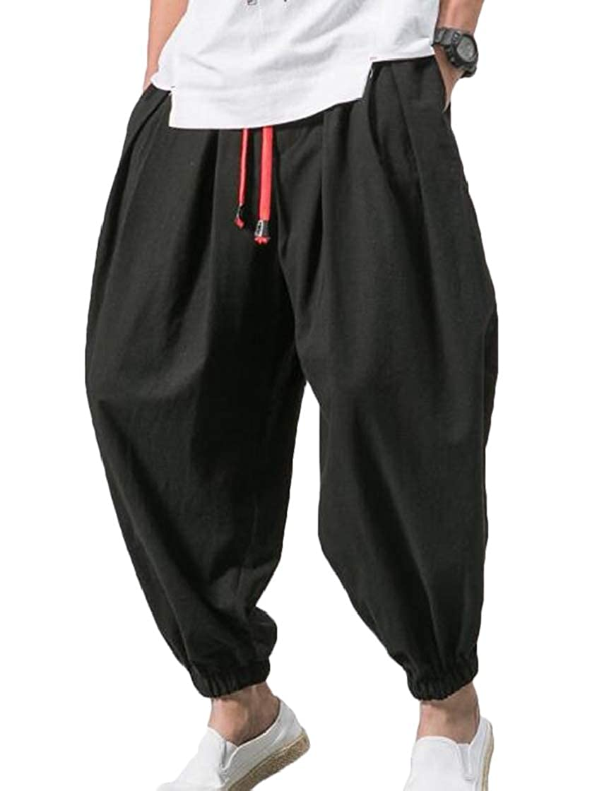YYear Men Linen Chinese Style Casual Plus Size Harem Fashion Pants Trousers