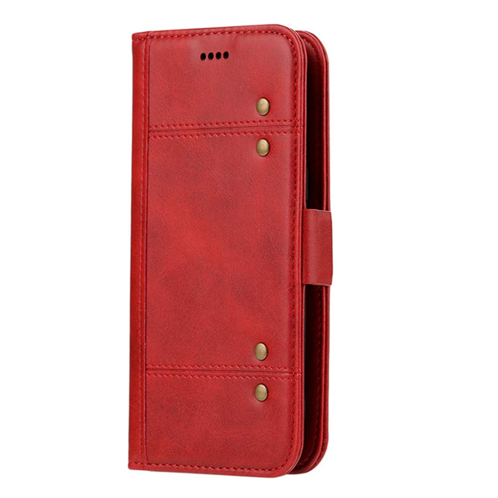 Samsung S8 Plus Detachable Case,elecfan Magnetic PU Leather Wallet Cover with Card Holder/Wrist Strap/Smart Stand Protective Shell for Samsung Galaxy S8 Plus 6.2 inch Phone (Red)