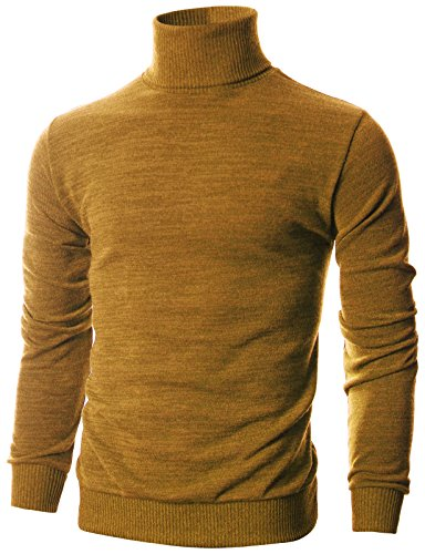 Ohoo Mens Slim Fit Long Sleeve Turtleneck Mixed Ribbed Hem Pullover Sweater/DCP024-MUSTARD-XL