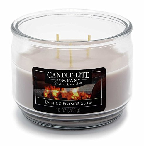 (Candle Lite 3Wick Fragranced Candle Jar–Evening Fireside Glow 283g–Grey, 10.5x 10.5x)
