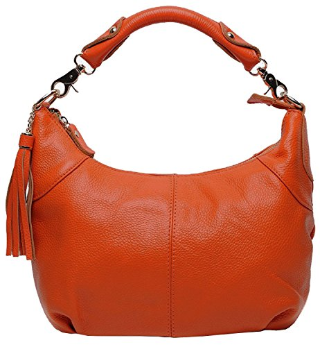 Women��s Handbag Soft Purse Leather tm Kuer Satchel Shoulder Top Hereby Bag Tote Orange Cross Handle Body 6wx7EnIqg