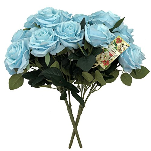 DALAMODA Blue 2 Bundles (with Total 20 Heads) Sky Blue Rose Flower Bouquet, Artificial Silk Flower for Any DIY Decoration
