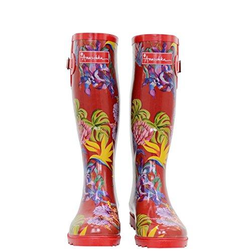 Anuschka Women's Rain Boot | Handmade, Waterproof Natural Rubber | Adjustable Calf Buckle | Memory Foam Insole | Island Escape | 7 M US