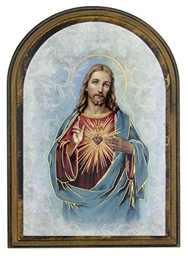 Plaque Wall Divine - Devotional Wall Plaque with Gold Highlights (Sacred Heart of Jesus)