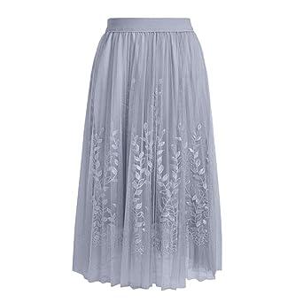 Finebo - Falda 3D plisada de tul para mujer, gris, talla abierta ...