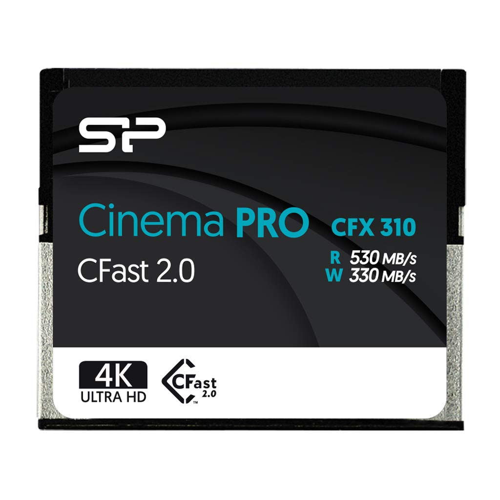 Silicon Power 512GB CFast 2.0 CinemaPro CFX310 Memory Card, 3500X and up to 530MB/s Read, MLC, for Blackmagic URSA Mini, Canon XC10/1D X Mark II and More - SP512GICFX311NV0BM by SP Silicon Power