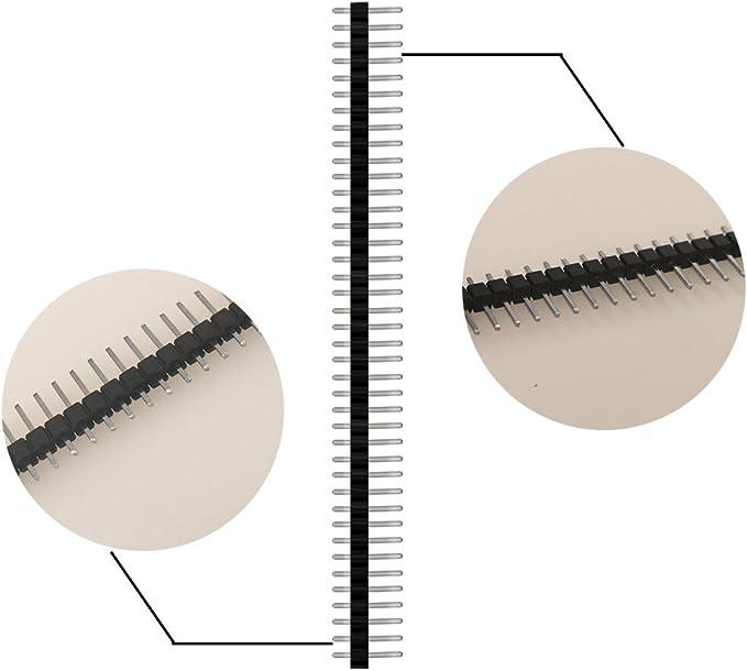 20pcs m/âle en-t/ête, 20pcs femelle en-t/ête 40 pi/èces 2.54mm Pin Headers 40 broches Breakaway PCB Board seule rang/ée m/âle et femelle Pin Header Connector Kit pour Arduino Prototype Shield