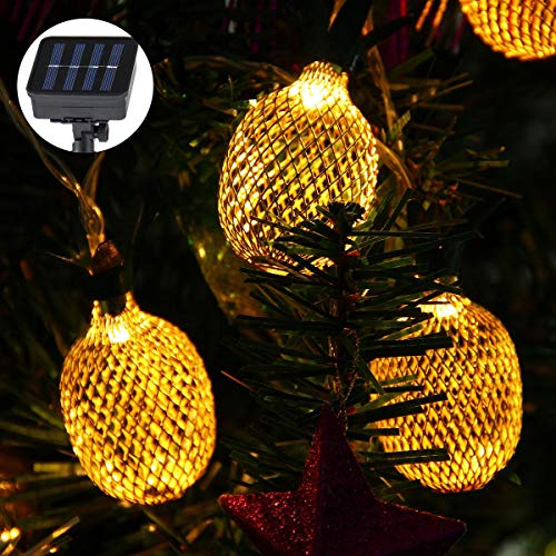 Pineapple String Lights, 200in/5m 40 LED Bulbs Waterproof Solar Charging Lantern String Lights with 2 Light Mode Fairy Lights for Wedding Garden Festival Party Halloween Christmas Indoor & Outdoor by Umiwe (Image #6)