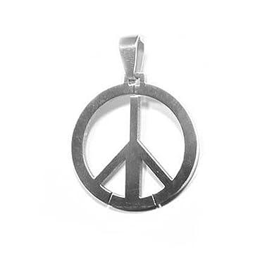 Steel Pendant Peace And Love Symbol 30 Mm Amazon Jewellery