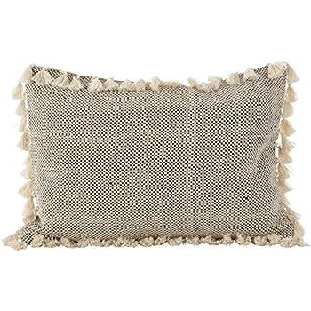 Amazon Com Mud Pie Gray Pom Pom Pillow Home Amp Kitchen